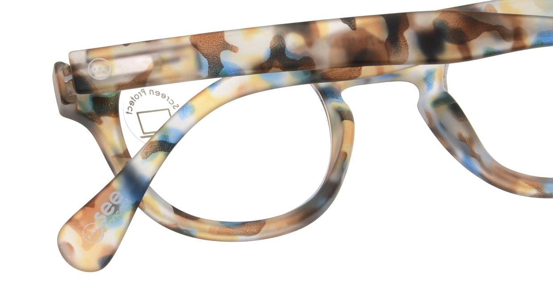イジピジ PC用メガネ +0.0(度なし) #C-BLUE TORTOISE [ブルーライトカット/ウェリントン/派手]  4