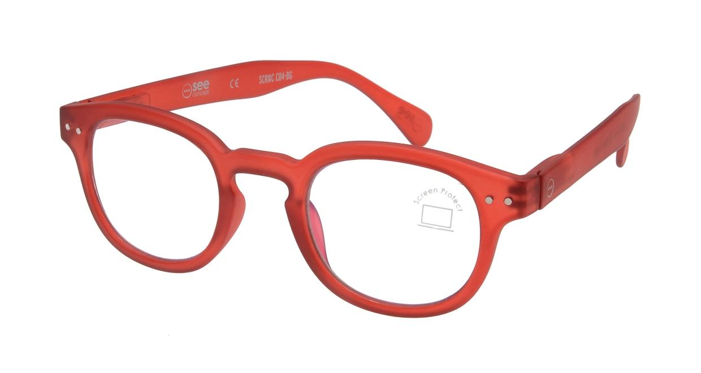 イジピジ PC用メガネ +0.0(度なし) #C-RED [ブルーライトカット/ウェリントン/赤]