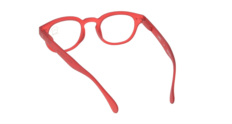 イジピジ PC用メガネ +0.0(度なし) #C-RED [ブルーライトカット/ウェリントン/赤]  2