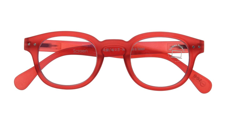 イジピジ PC用メガネ +0.0(度なし) #C-RED [ブルーライトカット/ウェリントン/赤]  3