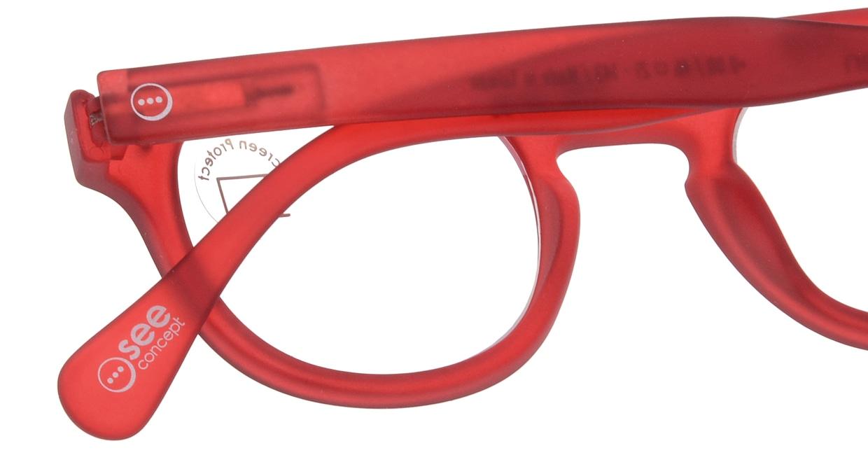 イジピジ PC用メガネ +0.0(度なし) #C-RED [ブルーライトカット/ウェリントン/赤]  4