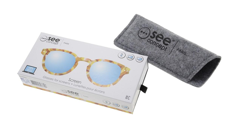 イジピジ PC用メガネ +0.0(度なし) #C-YELLOW TORTOISE [ブルーライトカット/ウェリントン/黄色]  6