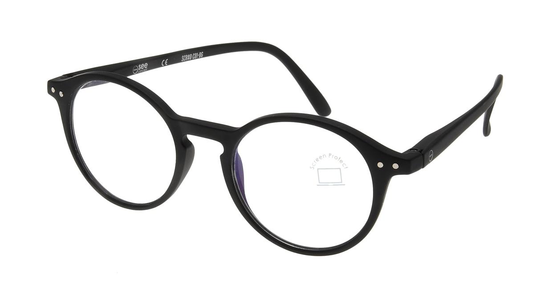イジピジ PC用メガネ +0.0(度なし) #D-BLACK [ブルーライトカット/黒縁/丸メガネ]