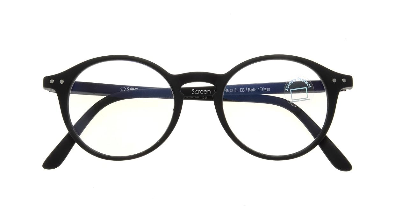 イジピジ PC用メガネ +0.0(度なし) #D-BLACK [ブルーライトカット/黒縁/丸メガネ]  3