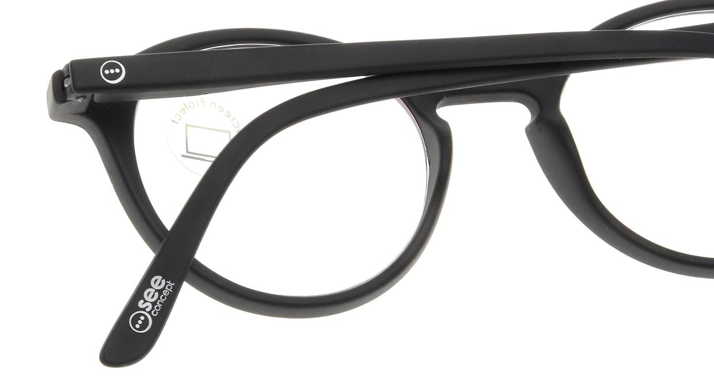 イジピジ PC用メガネ +0.0(度なし) #D-BLACK [ブルーライトカット/黒縁/丸メガネ]  4