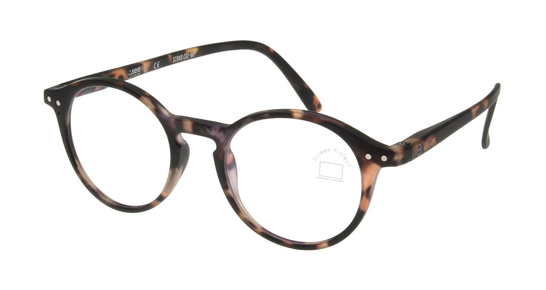 イジピジ PC用メガネ +0.0(度なし) #D-TORTOISE [ブルーライトカット/丸メガネ/べっ甲柄]