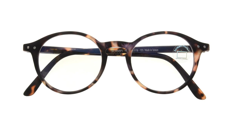 イジピジ PC用メガネ +0.0(度なし) #D-TORTOISE [ブルーライトカット/丸メガネ/べっ甲柄]  3