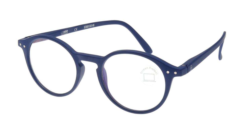 イジピジ PC用メガネ +0.0(度なし) #D-NAVY BLUE [ブルーライトカット/丸メガネ/青]