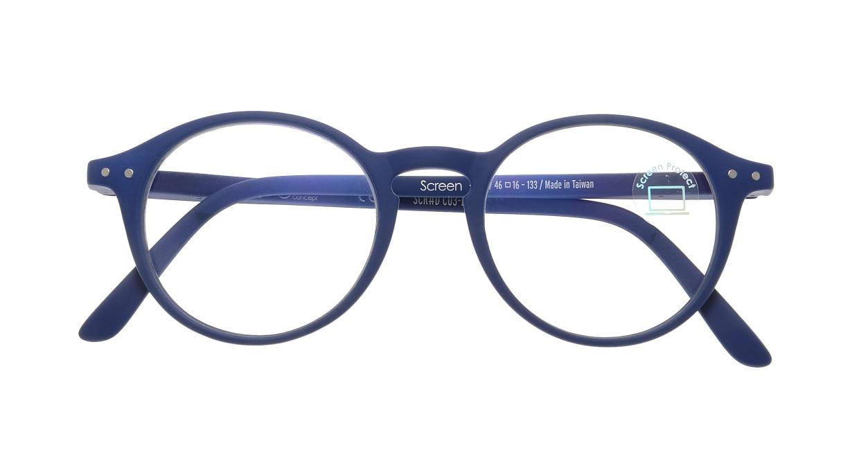 イジピジ PC用メガネ +0.0(度なし) #D-NAVY BLUE [ブルーライトカット/丸メガネ/青]  3