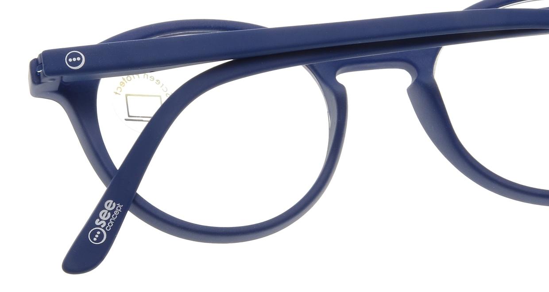 イジピジ PC用メガネ +0.0(度なし) #D-NAVY BLUE [ブルーライトカット/丸メガネ/青]  4