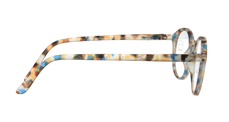 イジピジ PC用メガネ +0.0(度なし) #D-BLUE TORTOISE [ブルーライトカット/丸メガネ/派手]  1