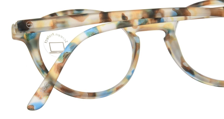 イジピジ PC用メガネ +0.0(度なし) #D-BLUE TORTOISE [ブルーライトカット/丸メガネ/派手]  4