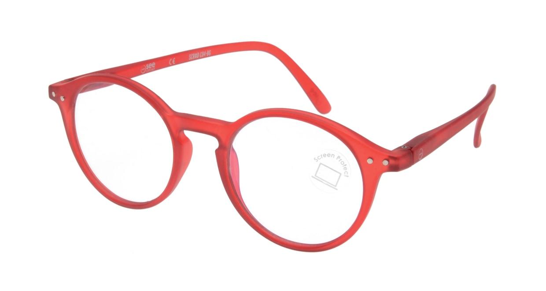 イジピジ PC用メガネ +0.0(度なし) #D-RED [ブルーライトカット/丸メガネ/赤]