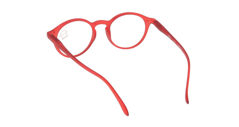イジピジ PC用メガネ +0.0(度なし) #D-RED [ブルーライトカット/丸メガネ/赤]  2