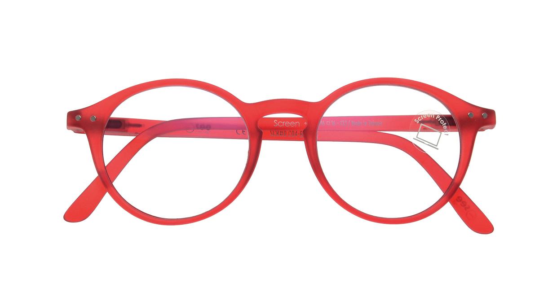 イジピジ PC用メガネ +0.0(度なし) #D-RED [ブルーライトカット/丸メガネ/赤]  3