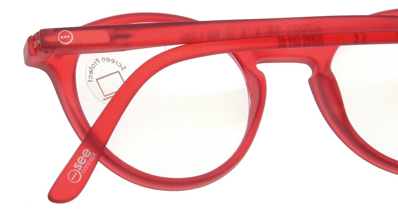 イジピジ PC用メガネ +0.0(度なし) #D-RED [ブルーライトカット/丸メガネ/赤]  5