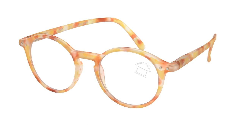 イジピジ PC用メガネ +0.0(度なし) #D-YELLOW TORTOISE [ブルーライトカット/丸メガネ/黄色]