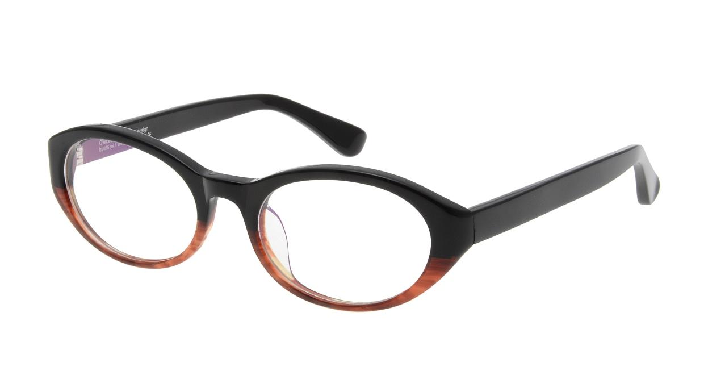 オウル boasorte ONSORA-BS035-1.BLACK-BROWN DEMI [黒縁/オーバル]