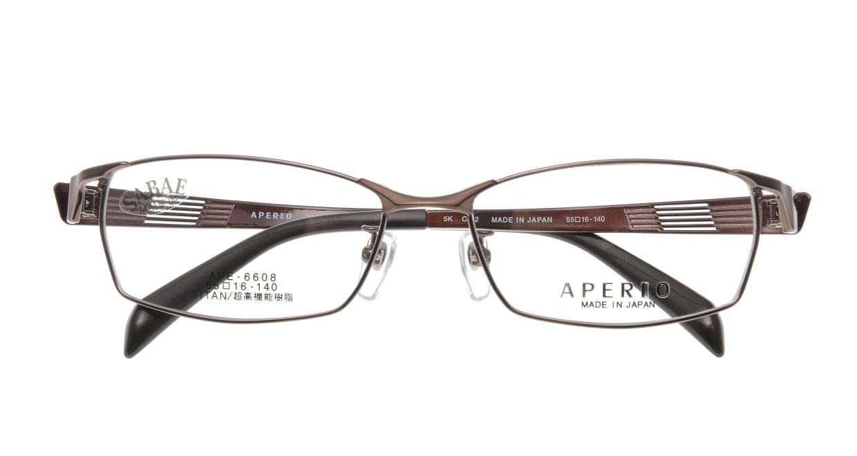 アペリオ APE-6608-2-55 [メタル/鯖江産/スクエア/茶色]  3