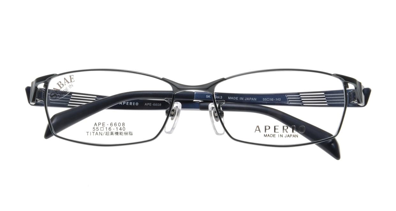 アペリオ APE-6608-3-55 [メタル/鯖江産/スクエア/青]  3