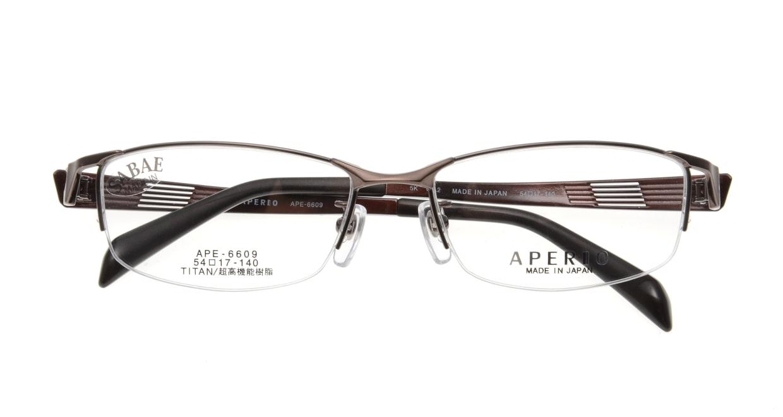 アペリオ APE-6609-2-54 [メタル/鯖江産/ハーフリム/スクエア/茶色]  3