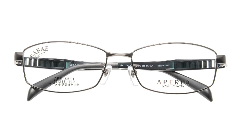 アペリオ APE-6611-3-55 [メタル/鯖江産/スクエア/グレー]  3