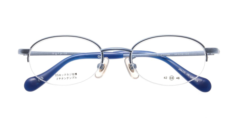 スキップSKIP-59-3-44 [メタル/鯖江産/ハーフリム/オーバル/青]  3