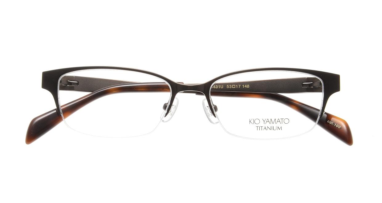 キオヤマト KT-431U-100 [メタル/鯖江産/ハーフリム/スクエア/激安/茶色]  3