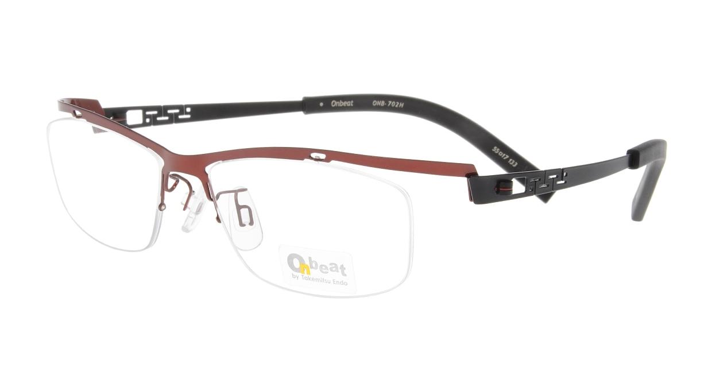オンビート ONB-702H-RD/BK Red/Black [メタル/鯖江産/ハーフリム/スクエア/赤]