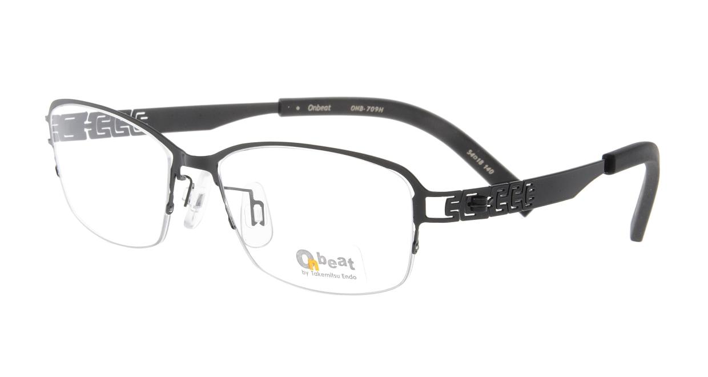 オンビート ONB-709H-BKS Shiny Black [メタル/鯖江産/ハーフリム/スクエア]