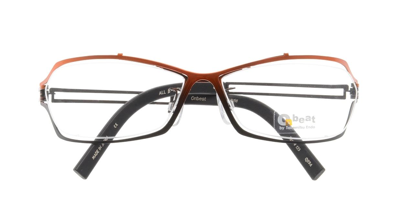 オンビート ONB-401H-Q09A Orange-Gray Gradation/Black [メタル/鯖江産/スクエア/赤]  3