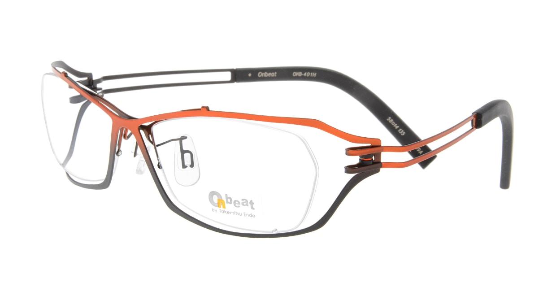 オンビート ONB-401H-Q09A Orange-Gray Gradation/Black [メタル/鯖江産/スクエア/赤]