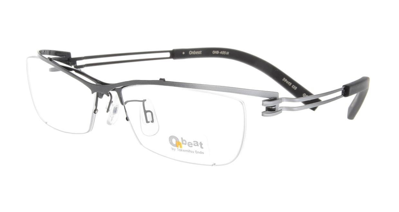 オンビート ONB-405H-Q01B Gray-Silver Gradation/Black [メタル/鯖江産/ハーフリム/スクエア]