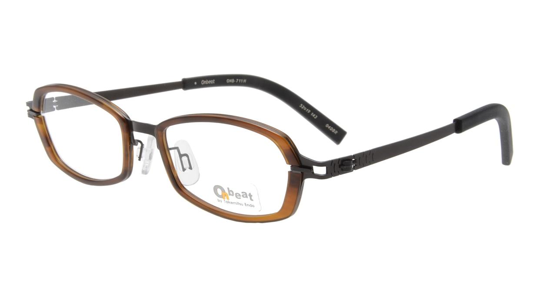 オンビート ONB-711H-04DBR Dark Brown/Dark Brown04 [鯖江産/スクエア/茶色]