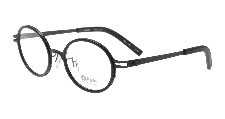 オンビート ONB-713H-01BK Black/Black01 [黒縁/鯖江産/丸メガネ]