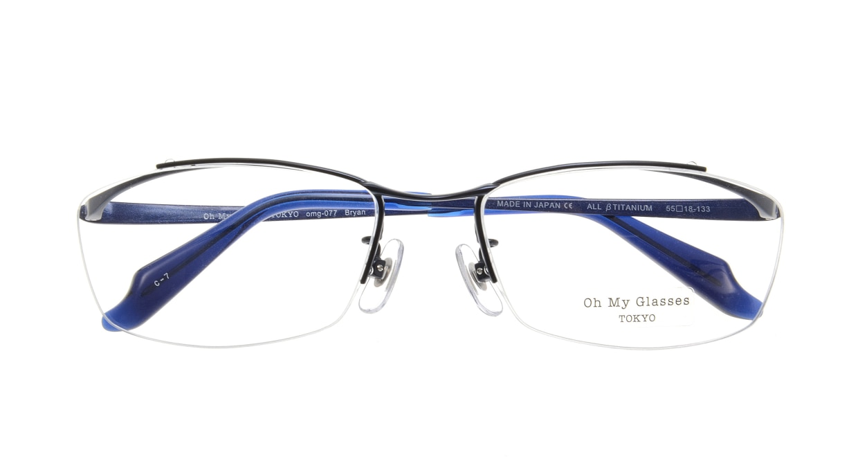 Oh My Glasses TOKYO Brian omg-077-7-55 [メタル/鯖江産/ハーフリム/スクエア/青]  3