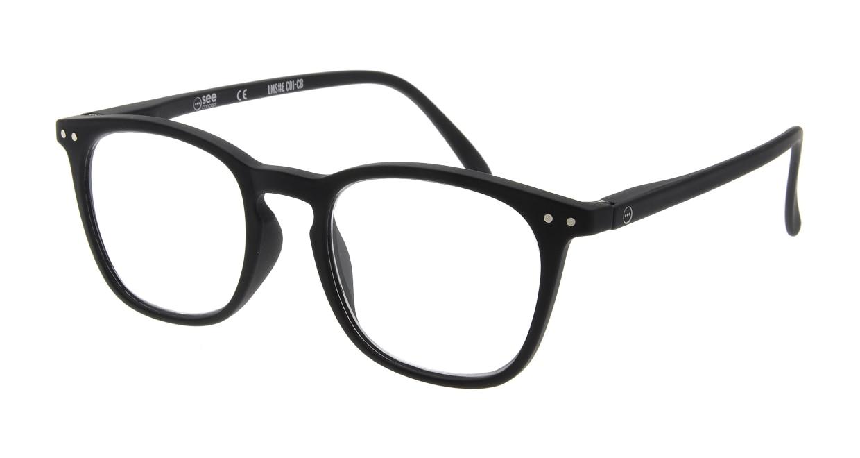 イジピジ リーディンググラス +1.5 #E-BLACK [老眼鏡/黒縁/ウェリントン]