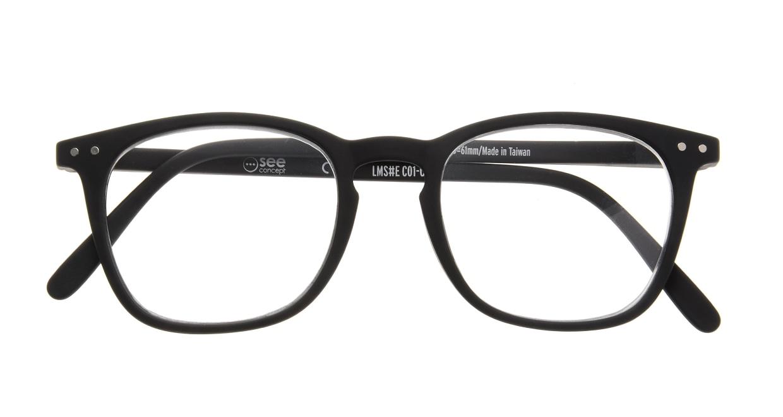 イジピジ リーディンググラス +2.5 #E-BLACK [老眼鏡/黒縁/ウェリントン]  3