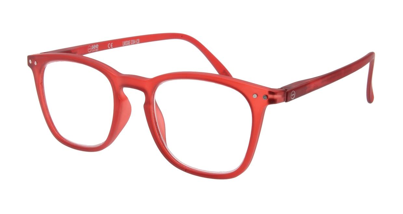 イジピジ リーディンググラス +2.0 #E-RED [老眼鏡/ウェリントン/赤]