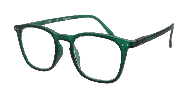 イジピジ リーディンググラス +1.5 #E-GREEN [老眼鏡/ウェリントン/緑]