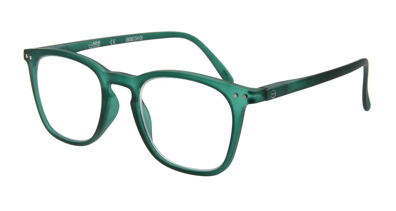 イジピジ リーディンググラス +2.0 #E-GREEN [老眼鏡/ウェリントン/緑]