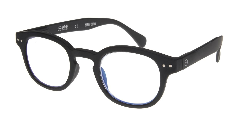 イジピジ リーディンググラス PC用 +1.5 #C BLACK [老眼鏡/ブルーライトカット/黒縁/ウェリントン]