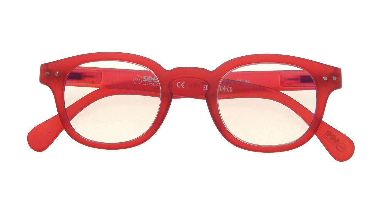 イジピジ リーディンググラス PC用 +2.0 #C RED [老眼鏡/ブルーライトカット/ウェリントン/赤]  3