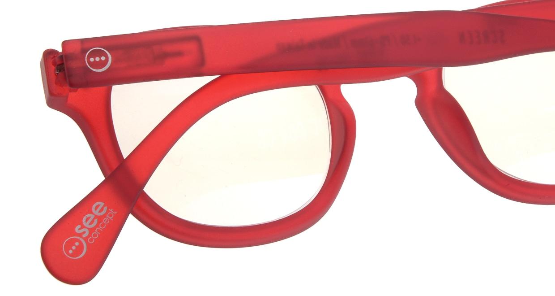 イジピジ リーディンググラス PC用 +2.0 #C RED [老眼鏡/ブルーライトカット/ウェリントン/赤]  4