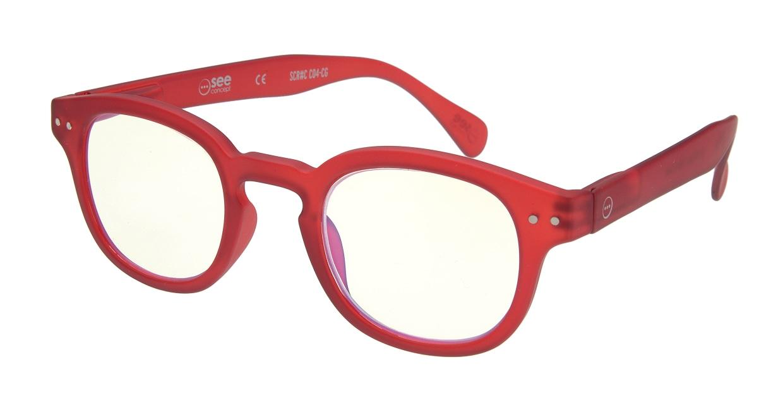 イジピジ リーディンググラス PC用 +2.0 #C RED [老眼鏡/ブルーライトカット/ウェリントン/赤]