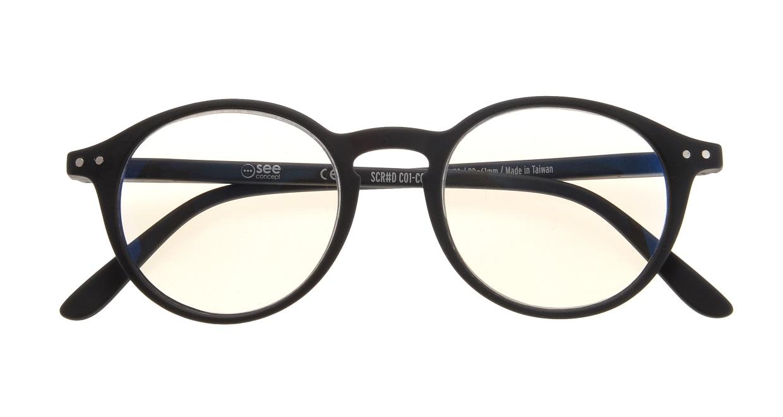 イジピジ リーディンググラス PC用 +2.0 #D BLACK [老眼鏡/ブルーライトカット/黒縁/丸メガネ]  3