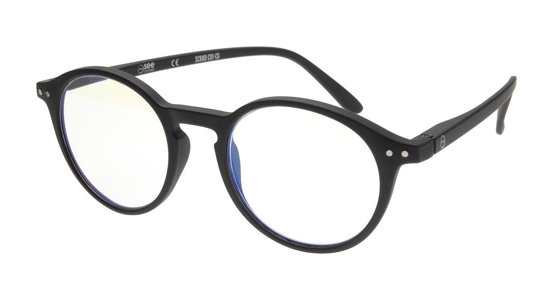 イジピジ リーディンググラス PC用 +2.5 #D BLACK [老眼鏡/ブルーライトカット/黒縁/丸メガネ]