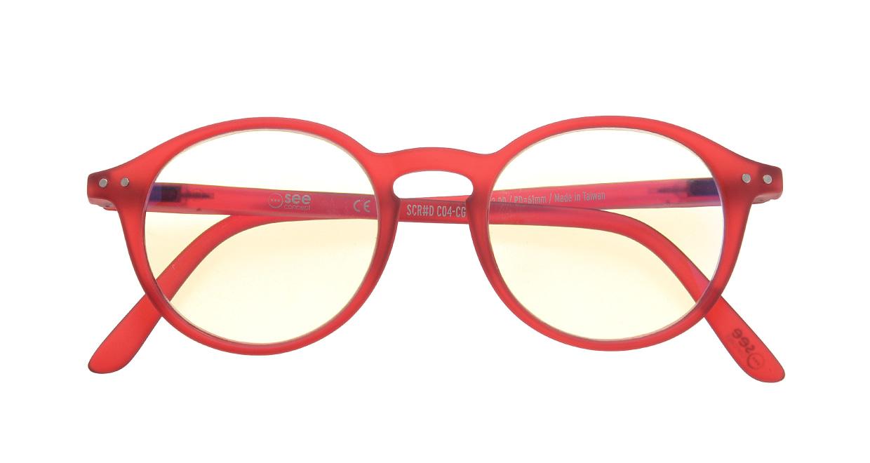 イジピジ リーディンググラス PC用 +2.5 #D RED [老眼鏡/ブルーライトカット/丸メガネ/赤]  3