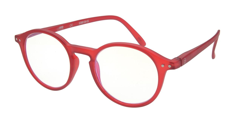 イジピジ リーディンググラス PC用 +2.5 #D RED [老眼鏡/ブルーライトカット/丸メガネ/赤]