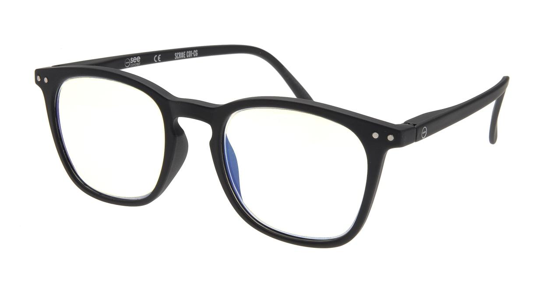 イジピジ リーディンググラス PC用 +2.0 #E BLACK [老眼鏡/ブルーライトカット/黒縁/ウェリントン]